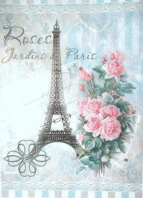 1 Sheet A4  Rice Paper for Decoupage Craft Vintage    -  Paris and Flowers