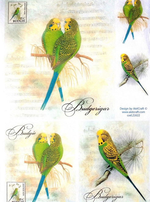 1 Sheet A4  Rice Paper for Decoupage Craft Vintage    -   Parrots Family