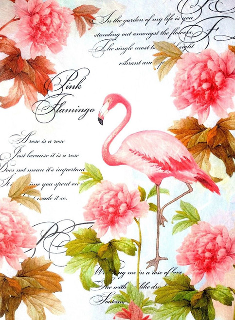 1 Sheet A4  Rice Paper for Decoupage Craft Vintage    -    Pink Flamingos