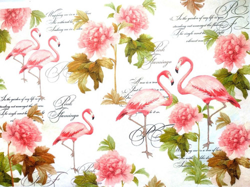 1 Sheet A4  Rice Paper for Decoupage Craft Vintage    -    Pink Flamingos 2