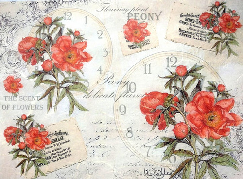 1 Sheet A4  Rice Paper for Decoupage Craft Vintage    -     Floral & Clocks