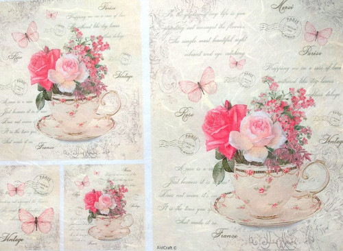 1 Sheet A4  Rice Paper for Decoupage Craft Vintage    -    Floral & Cups