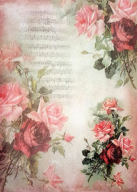 1 Sheet A3  Rice Paper for Decoupage Craft Vintage    -  Painting Roses