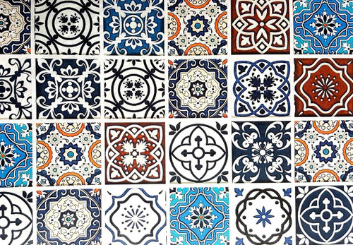 1 Sheet A3  Rice Paper for Decoupage Craft Vintage    -  Morocco Tiles 2
