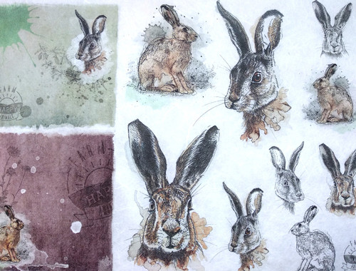 1 Sheet A4  Rice Paper for Decoupage Craft Vintage    -  Rabbits World