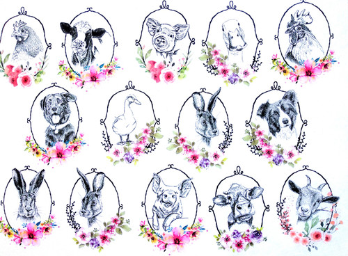 1 Sheet A4  Rice Paper for Decoupage Craft Vintage    - Easter Farm Animals Tags 3