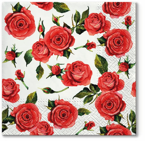 4  Vintage Paper Napkins , Lunch, Table , for Decoupage   -  Royal Red Roses, Flowers