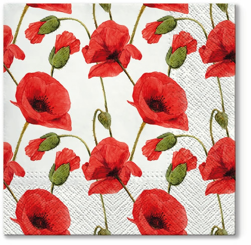 4  Vintage Paper Napkins , Lunch, Table , for Decoupage   -   Red Poppies, Flowers, Meadow