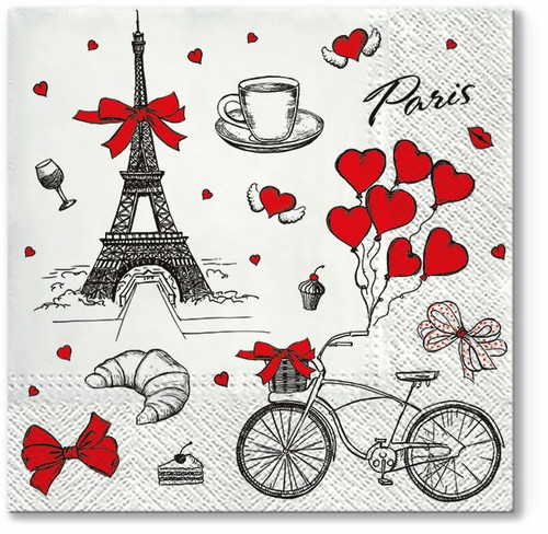4  Vintage Paper Napkins , Lunch, Table , for Decoupage   -   Red Hearts and Paris