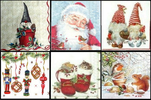 6 Single Vintage Cocktail Paper Napkins (25cm x 25cm)  for Decoupage - Christmas Mix 1/2