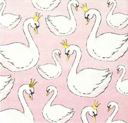 6 Single Vintage Cocktail Paper Napkins (25cm x 25cm) for Decoupage - Swans