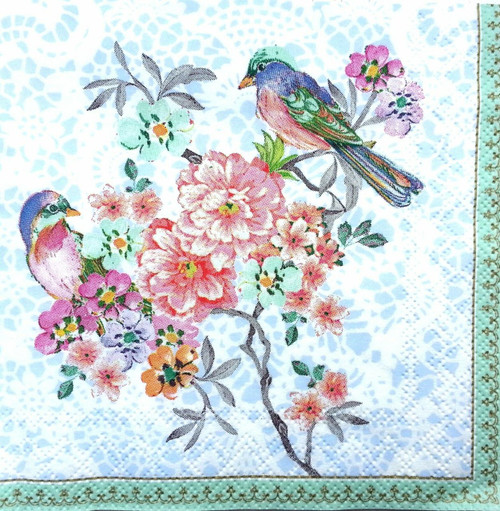 6 Single Vintage Cocktail Paper Napkins (25cm x 25cm) for Decoupage - Blue Bird and Flowers