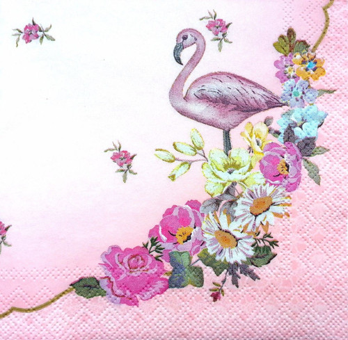 6 Single Vintage Cocktail Paper Napkins (25cm x 25cm) for Decoupage - Romantic Flamingo Pink
