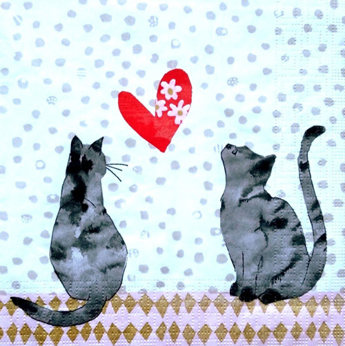 4 Lunch Paper Napkins for Decoupage Party Table Vintage Cats in Love