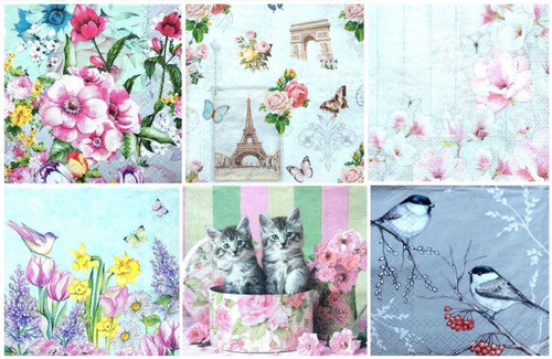 6 Single Vintage Cocktail Paper Napkins (25cm x 25cm) for Decoupage - Spring Set 1