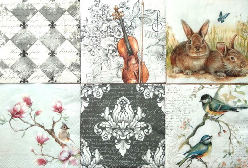 6 Single Vintage Cocktail Paper Napkins (25cm x 25cm) for Decoupage -Mix Animals