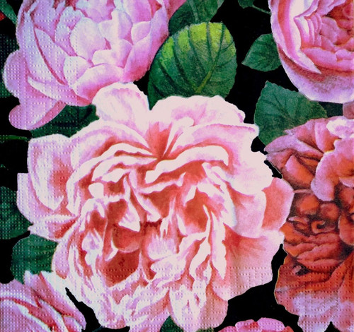 4 Lunch Paper Napkins for Decoupage Party Table Vintage Pretty Peony Pink