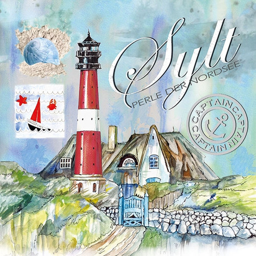 4  Vintage Paper Napkins , Lunch, Table , for Decoupage   -  Lighthouse Sea View