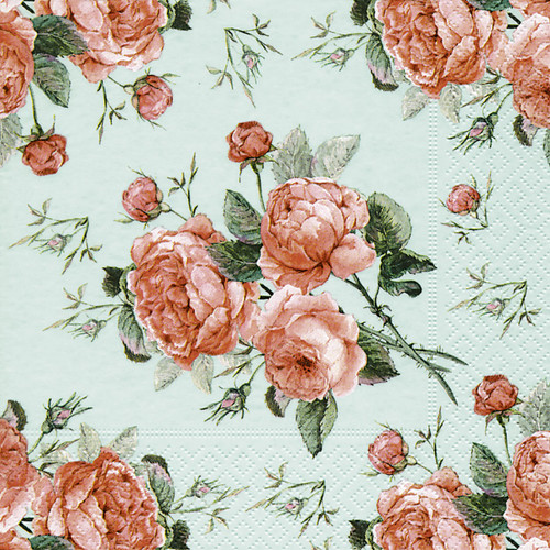 4  Vintage Paper Napkins , Lunch, Table , for Decoupage   -  Vintage Roses in Green