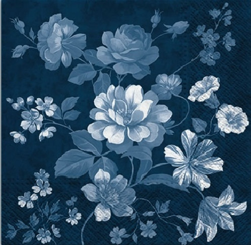 4  Vintage Paper Napkins , Lunch, Table , for Decoupage   -  Flowers Mystery Dark Blue