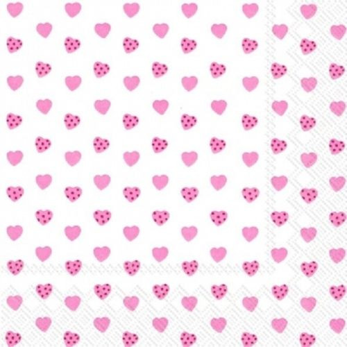 4  Vintage Paper Napkins , Lunch, Table , for Decoupage   -  Little Hearts Pink