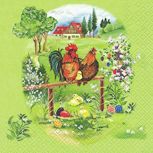 4  Vintage Paper Napkins , Lunch, Table , for Decoupage   -  Green Farm, Easter Hens