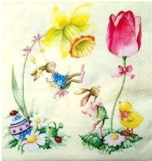 4 Single Lunch Paper Napkins -  Bunnies  and Flowers