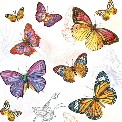 4 Single Lunch Paper Napkins -  Colorful Butterflies