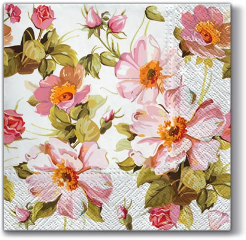 4 Single Lunch Paper Napkins - Cream Flowers