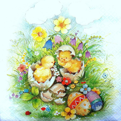 4 Single Lunch Paper Napkins - Easter Chick