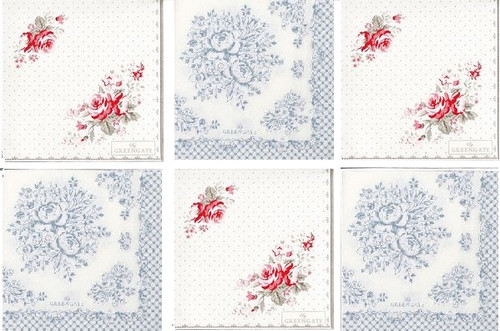 Single Vintage Cocktail Paper Napkins (25cm x 25cm) for Decoupage -  GreenGate Flowers Mix design