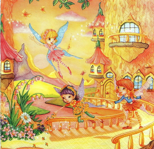 4 Single Lunch Paper Napkins - Flying Fairy