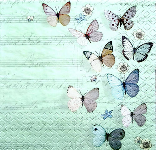 4 Single Lunch Paper Napkins - Spring Butterflies