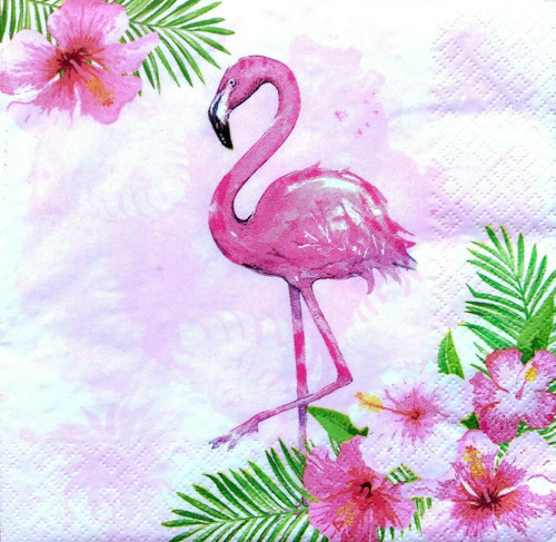 4  Vintage Paper Napkins , Lunch, Table , for Decoupage    -   Pink, Flamingo , Flowers