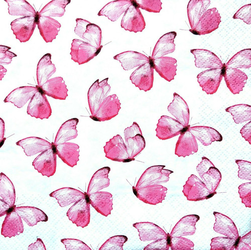 4  Vintage Paper Napkins , Lunch, Table , for Decoupage     -  Pink Butterflies