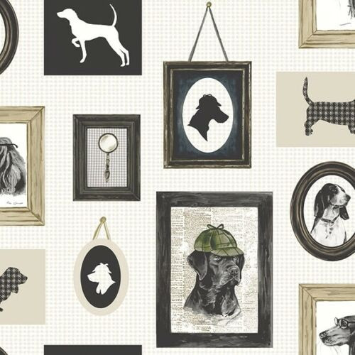 4 Single Lunch Paper Napkins Vintage - Detective Dog