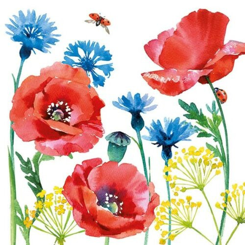4 Single Lunch Paper Napkins Vintage - Cornflower and Poppy