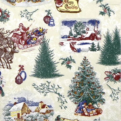 4 Lunch Paper Napkins for Decoupage Craft Vintage Napkin Christmas Green Trees