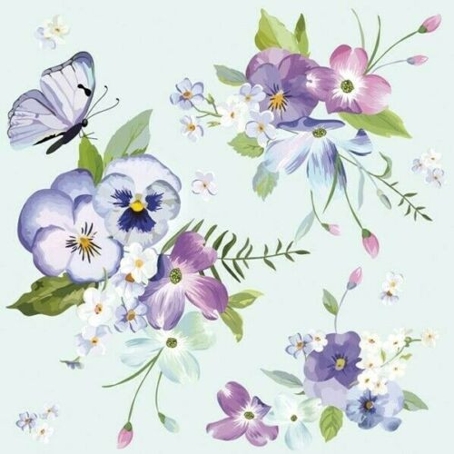 4  Vintage Paper Napkins , Lunch, Table , for Decoupage    - Flowers on Blue