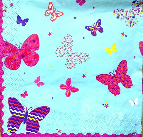 4  Vintage Paper Napkins , Lunch, Table , for Decoupage    -  Rainbow Butterflies