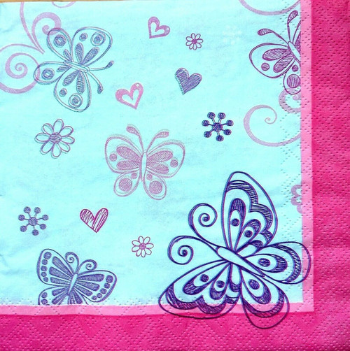 4  Vintage Paper Napkins , Lunch, Table , for Decoupage    -  Rainbow Butterflies 1