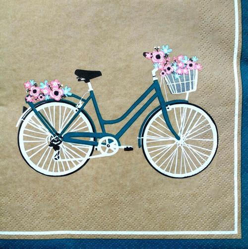 4  Vintage Paper Napkins , Lunch, Table , for Decoupage    -   Bike and Flowers