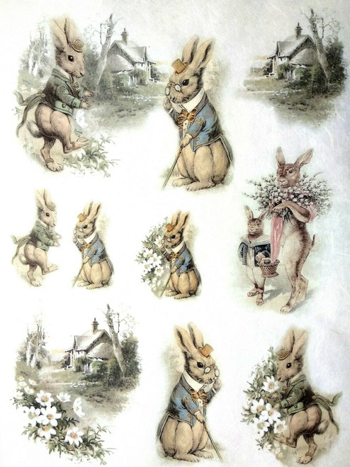 1 Sheet A4  Rice Paper for Decoupage Craft Vintage - Rabbits Farm