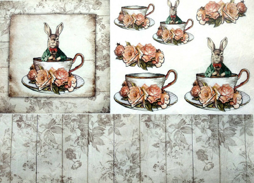 1 Sheet A4  Rice Paper for Decoupage Craft Vintage -  Rabbits and Tea