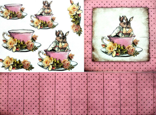 1 Sheet A4  Rice Paper for Decoupage Craft Vintage -  Rabbits and Tea 1