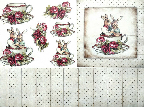 1 Sheet A4  Rice Paper for Decoupage Craft Vintage -  Rabbits and Tea 2