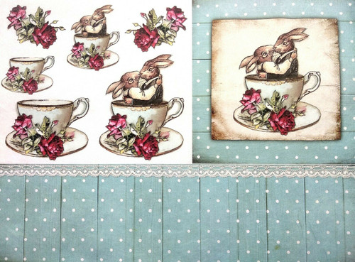 1 Sheet A4  Rice Paper for Decoupage Craft Vintage -  Rabbits and Tea 3