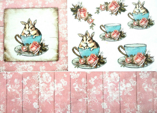 Rice Paper for Decoupage  Craft Vintage, Sheet A4  - Rabbits and Tea 4