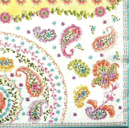 4  Vintage Paper Napkins , Lunch, Table , for Decoupage    -   Peacock Flowers