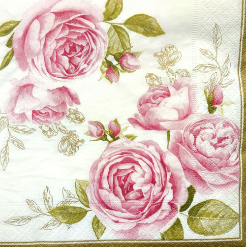 4  Vintage Paper Napkins , Lunch, Table , for Decoupage    - Roses Splash